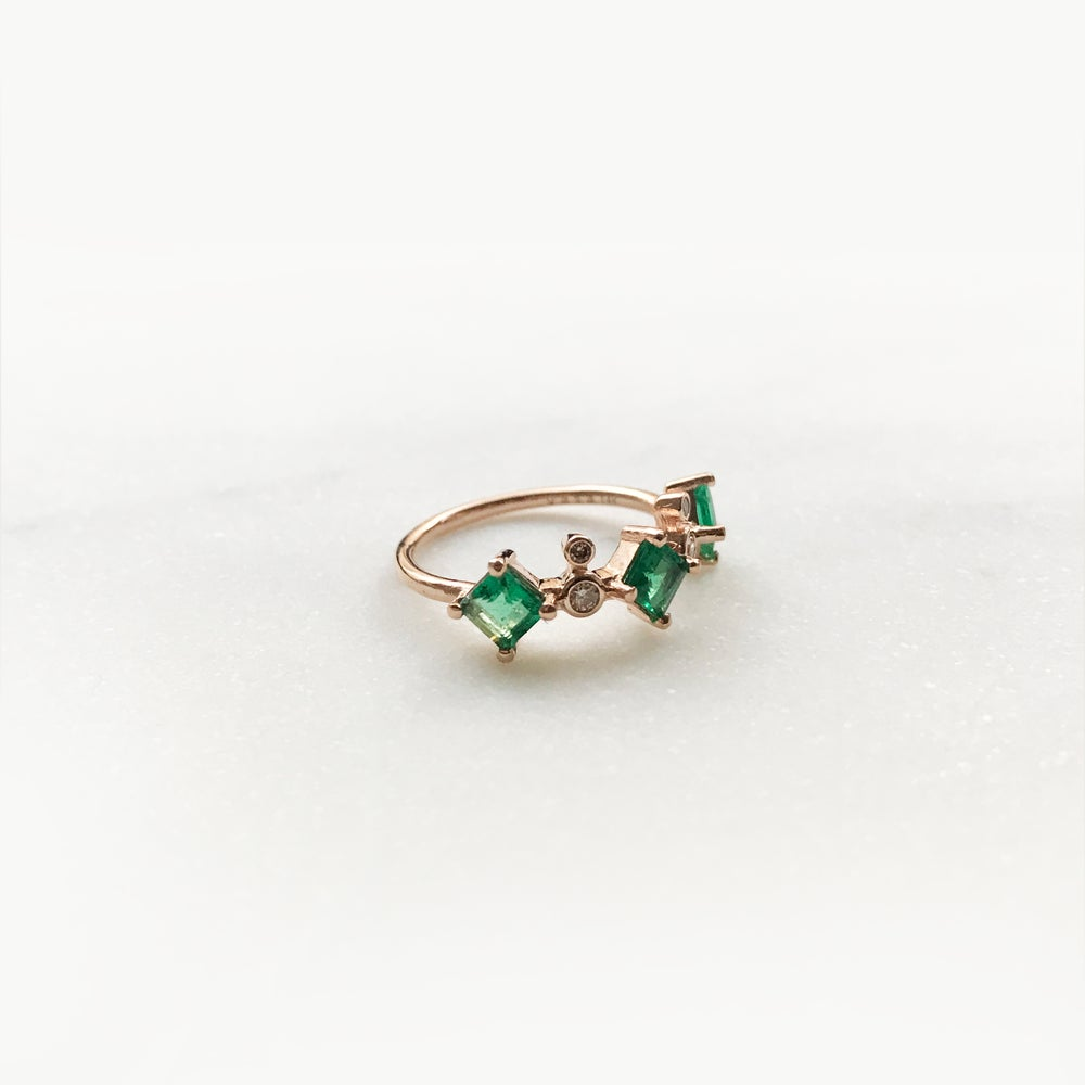 Image of Odette 3 Stone Emerald Ring