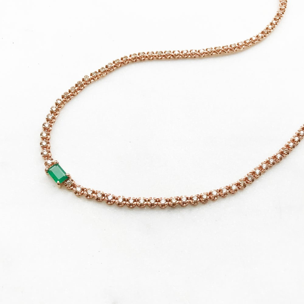 Image of Stardust Emerald Tennis Necklace