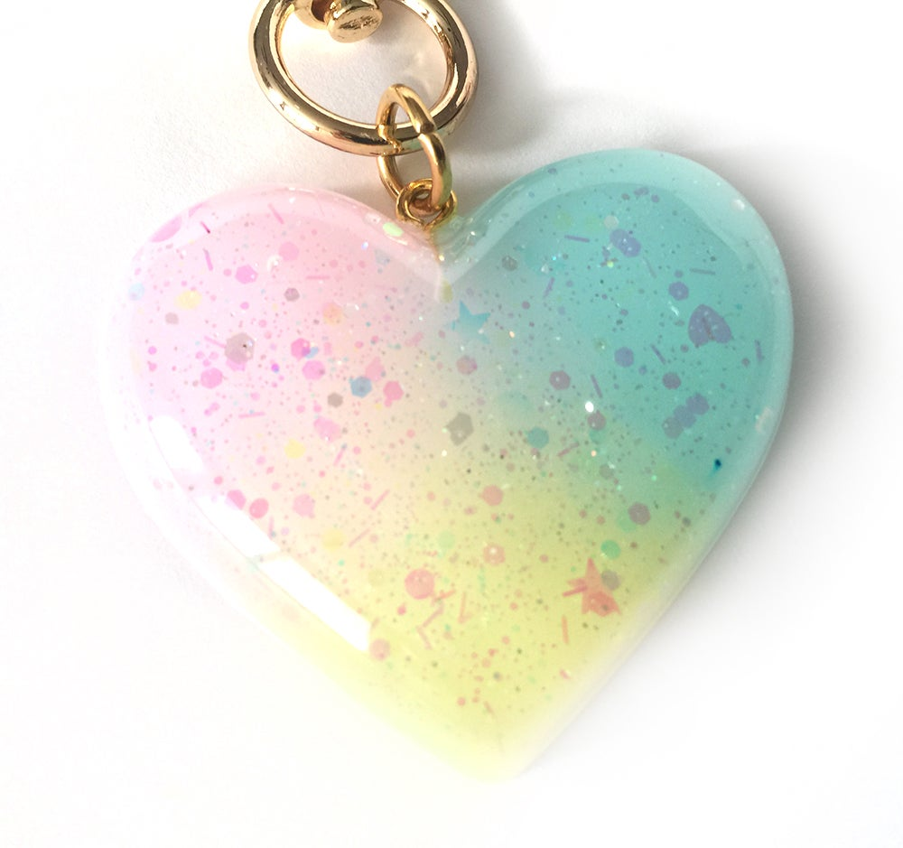 Image of Rainbow Sparkle Heart Bag Charm