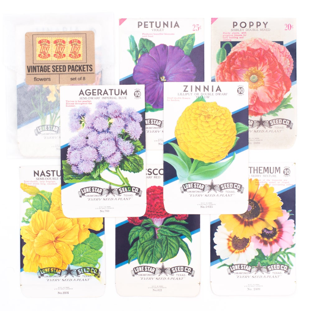 Image of Vintage Flower Seed Packets, No. 3 - Set of 8