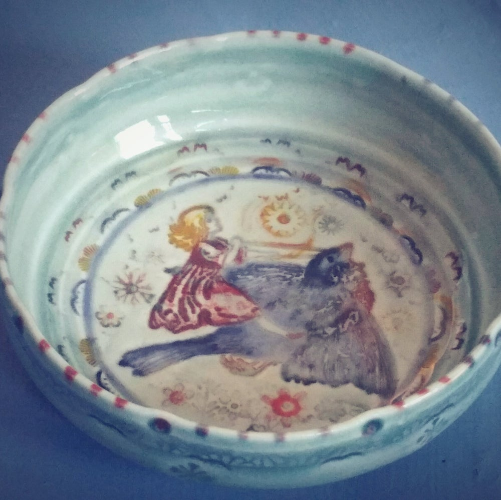 Image of Small Porcelain Bird Chariot Jewelry Dish