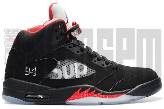 "Image of NIKE AIR JORDAN 5 RETRO SUPREME ""BLACK"""
