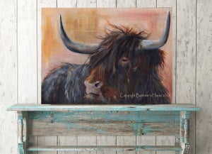 Image of SET OF 2 HIGHLAND COW, CHUNKY CANVAS WRAPS