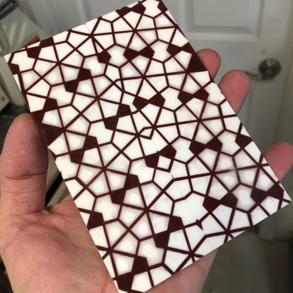 "Image of BWP Labyrinth Core in Burgundy with Double White fill scale set 1/4"" x 2"" x 5-7/8"""