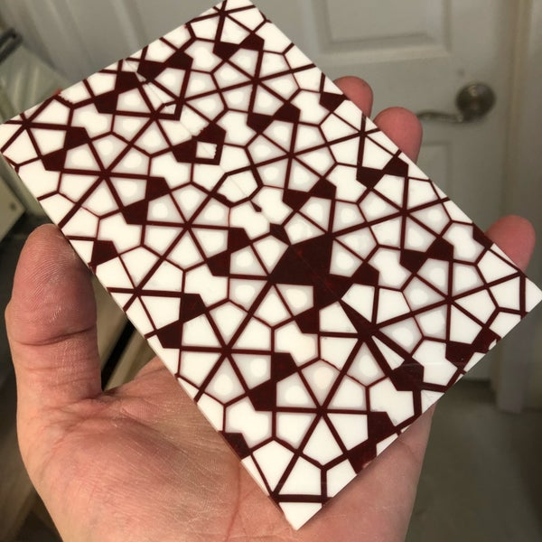 "Image of BWP Labyrinth Core in Burgundy with Double White fill scale set 3/16"" x 2"" x 5-7/8""."