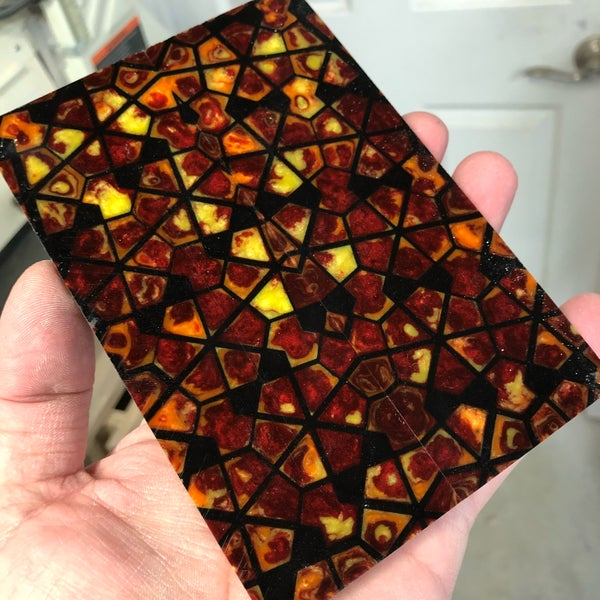 "Image of BWP Labyrinth Core in Black with Fiery fill scale set 1/4"" x 2"" x 5-7/8""."