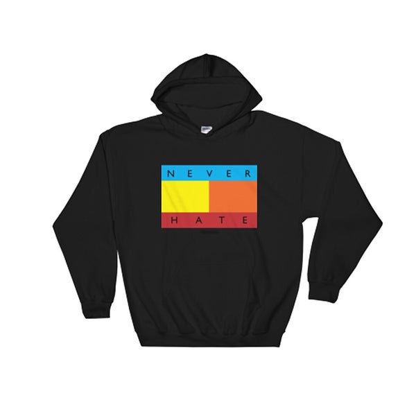 Image of The Never Hate Hoodie in Multi on Black