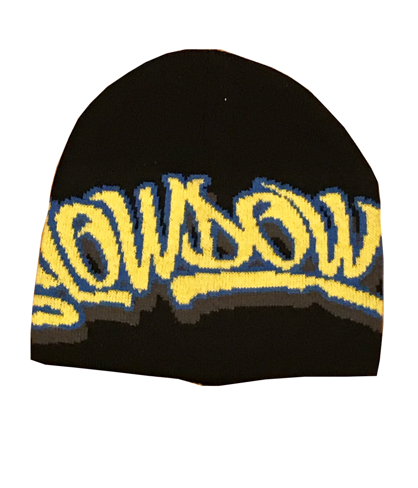 Image of Winter Logo Beanie Black yellow and blue