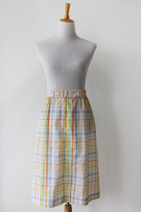 Image of Jantzen Happy Plaid Cotton Skirt