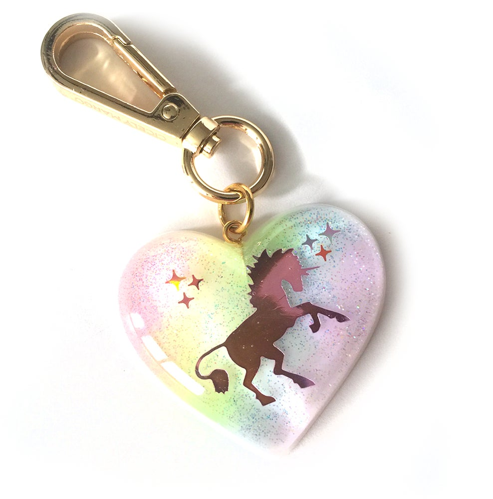 Image of I Believe In Unicorns Heart Bag Charm