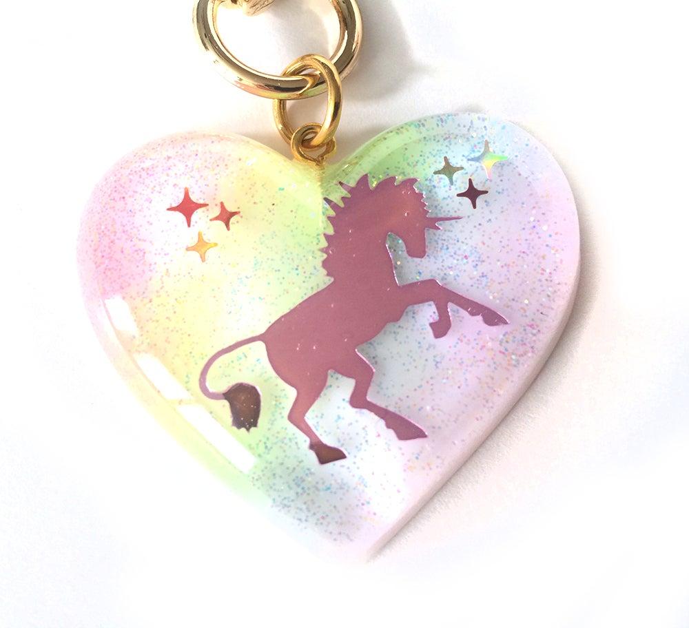 Image of I Believe In Unicorns Heart Bag Charm