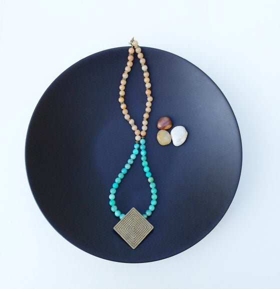 Image of Jade and Copper Pendant Necklace