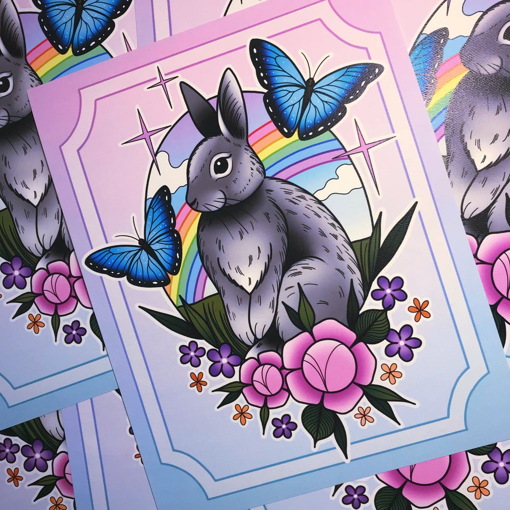 Image of 'Rainbow Bunny' Print