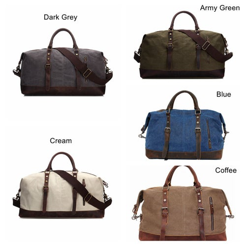 Image of Handmade Waxed Canvas Leather Travel Bag Duffle Bag Holdall Luggage Weekender Bag 12031