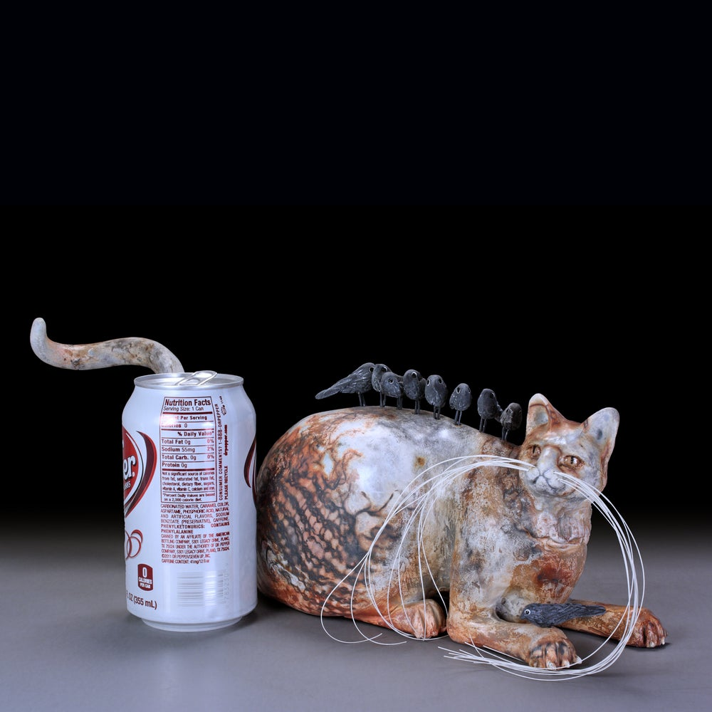 Image of Tabby Cat Ceramic Sculpture Urn