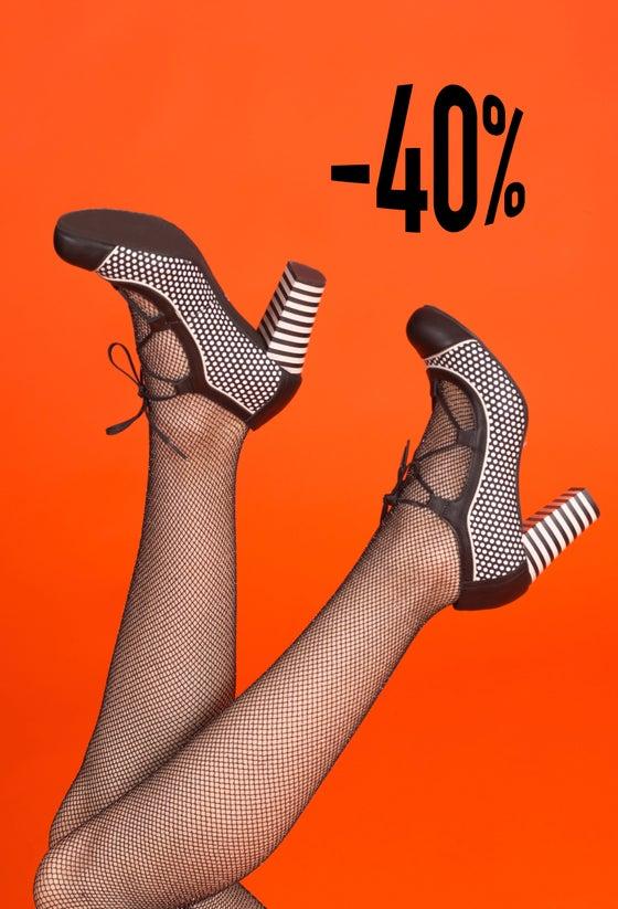 Image of Zapatos negros atados con lunares REBAJAS-SALES -40%