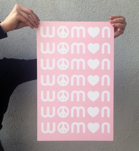 Image of Peace Love Women Pink Poster