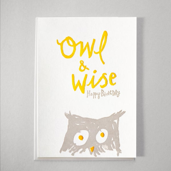 Image of Wise Owl Letterpress Birthday Card