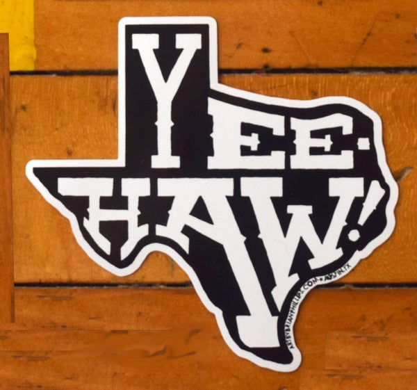 Image of YEE-HAW! Texas shaped sticker • FREE SHIPPING!