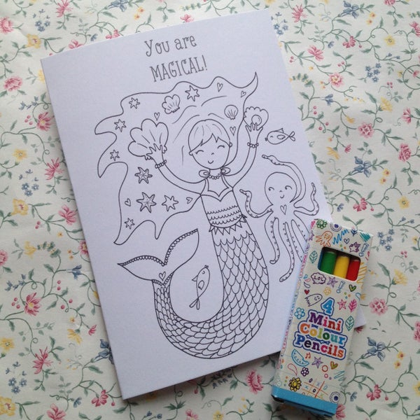 Image of Mermaid Colouring Card/Party Favours