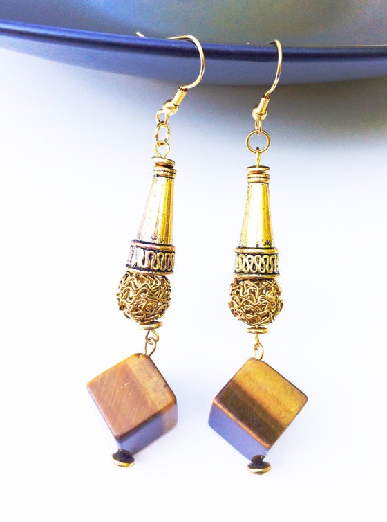 Image of Carmel Tigers Eye Earrings