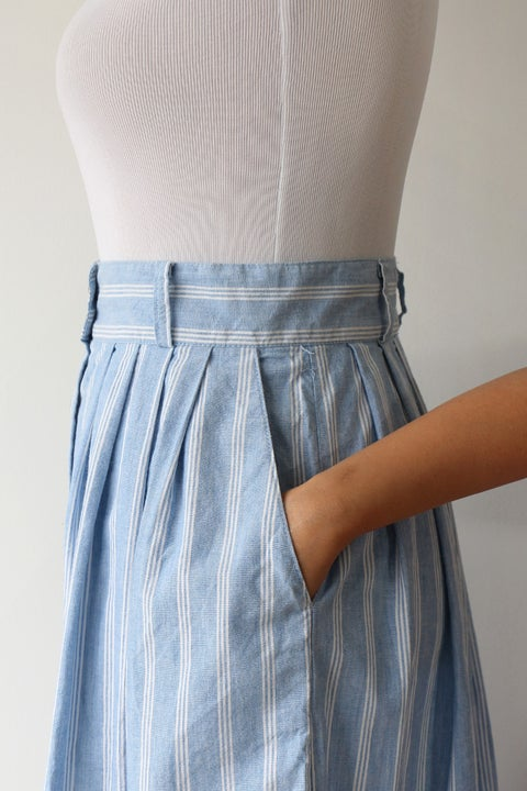 Image of SOLD Cotton Striped Button Down Skirt