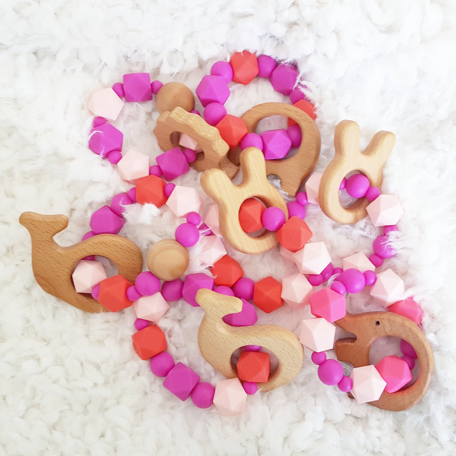 Image of Valentines Day silicone and solid maple teether