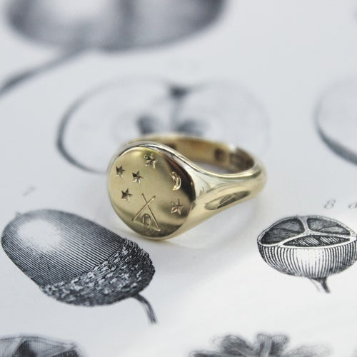 Image of *NEW* 'Under the stars' Wilderness signet ring in silver or gold