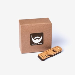Image of Valentine's Day Gift for Men - Wood Folding Beard Comb Made from Sustainable Bamboo in Texas U.S.A.