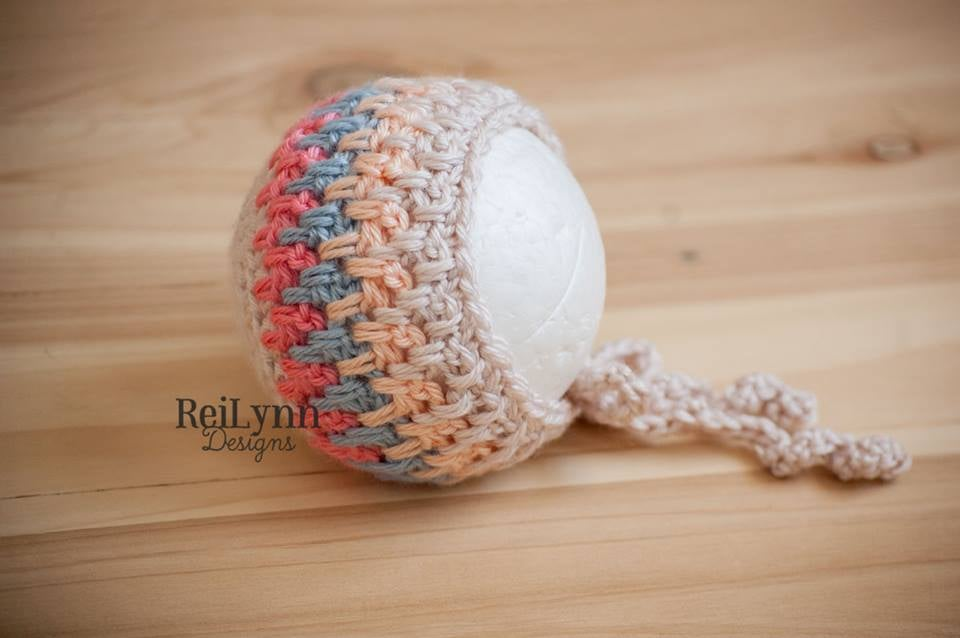 Image of Beige, Coral, Light Country Blue, and Peach Bonnet