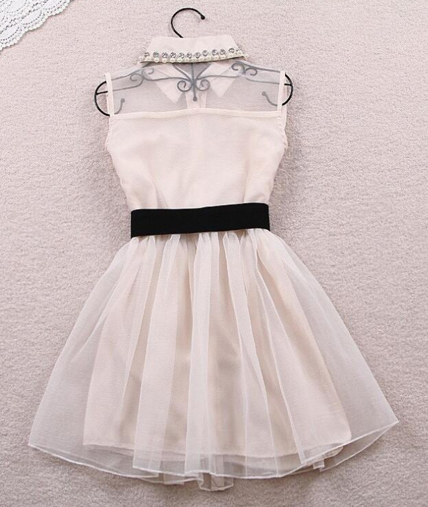 Image of Hot style lapel organza dress.