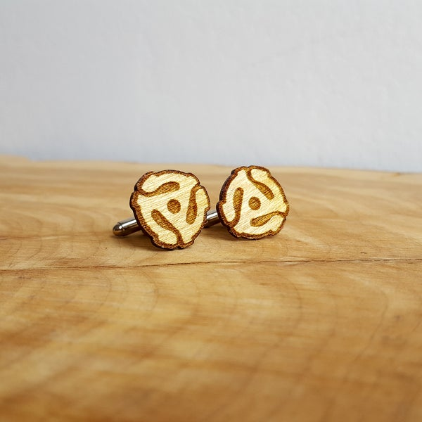 Image of Handmade 45 RPM Record Adapter Cufflinks - Yellowheart Wood
