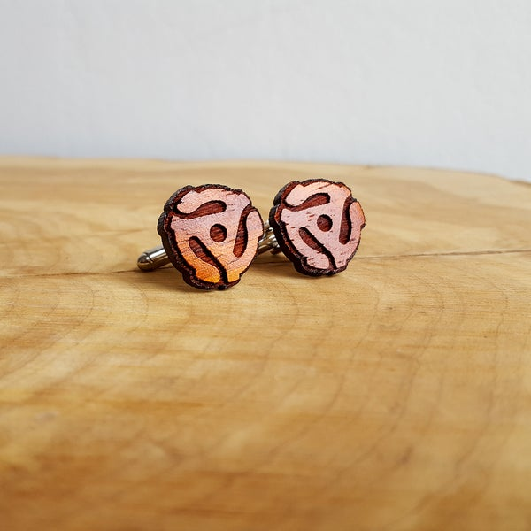 Image of Handmade 45 RPM Record Adapter Cufflinks - Padauk Wood