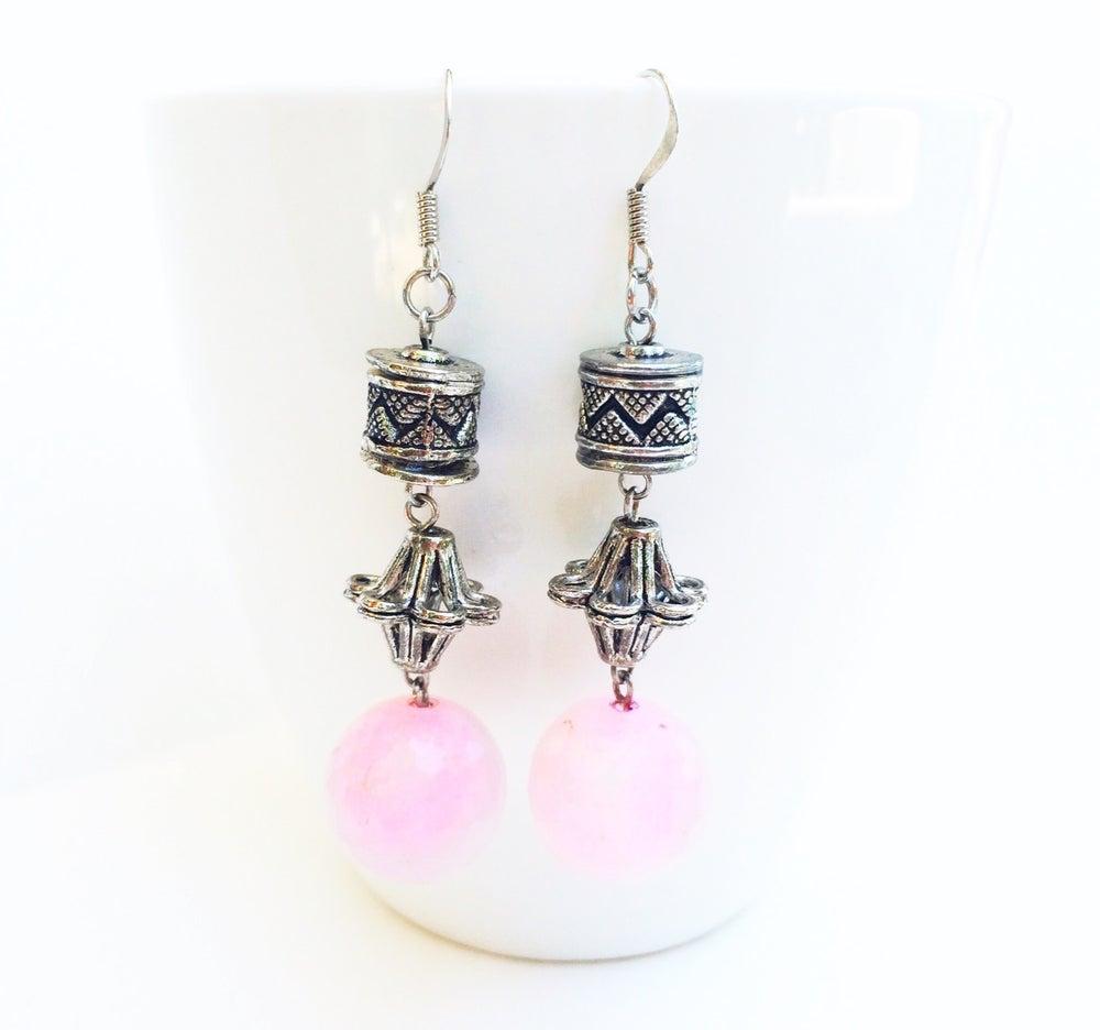 Image of Pink Quartz Flower Earrings