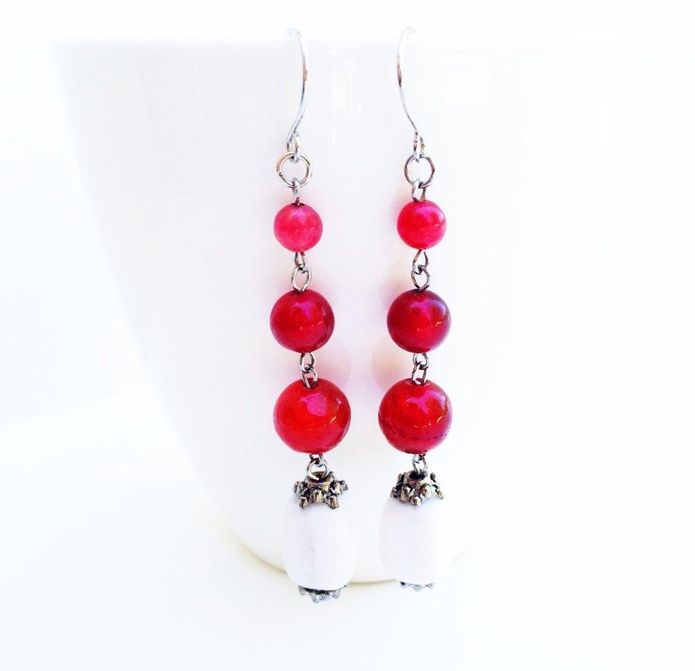 Image of Strawberry Jade Station Earrings