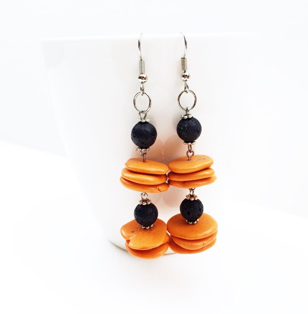 Image of Coral and Lava Stone Earrings