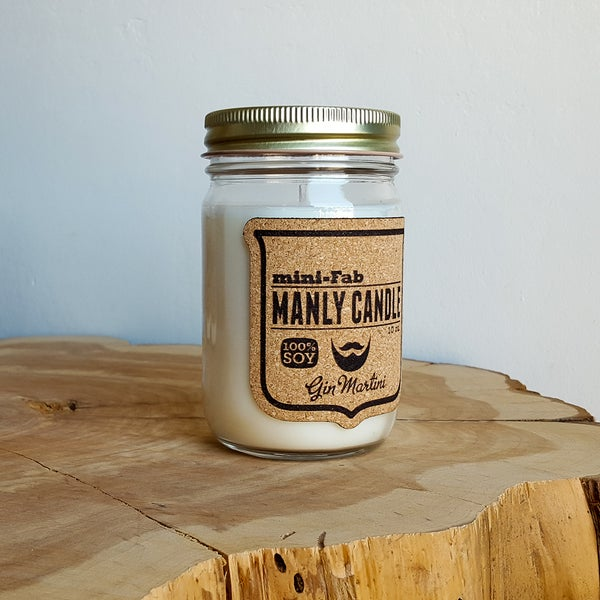 Image of Manly Candle - Gin Martini Scented Natural Soy Man Candle Hand Poured with Cotton Wick