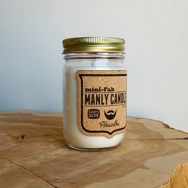 Image of Manly Candle - Absinthe Scented Natural Soy Man Candle Hand Poured with Cotton Wick