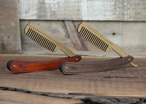 Image of Wood Straight Razor Beard Comb - Handmade and Personalized - Walnut and Bamboo Hardwoods
