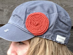 Image of Light Grey Hat/Rust Flower