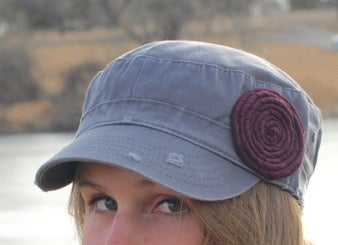 Image of Light Grey Hat/Plum Flower