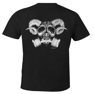 """Image of Confusion - """"Goat Skull Gas Mask"""" tee [black]"""