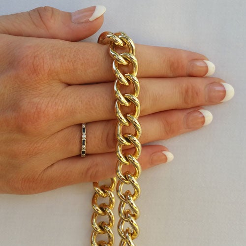 """Image of GOLD Chain Luxury Strap - Large Classy Curb Chain - 7/16"""" (12mm) Wide - Choose Length & Hooks/Clasps"""