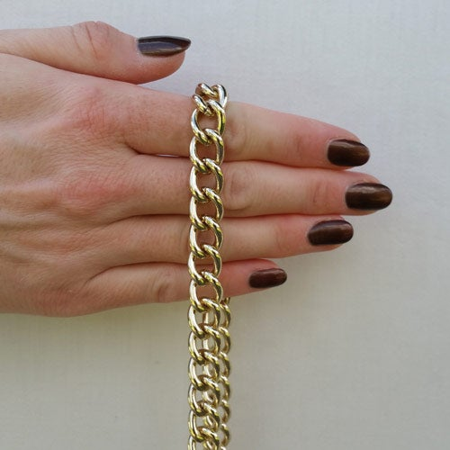 """Image of LIGHT GOLD Chain Luxury Strap - Large Classy Curb - 7/16"""" (12mm) Wide - Choose Length & Hooks/Clasps"""