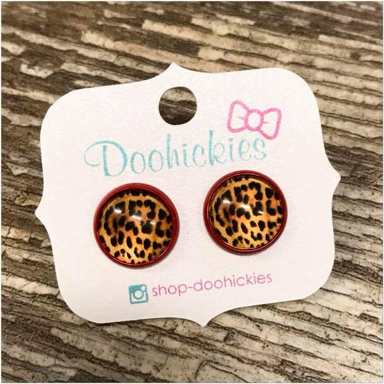 Image of Leopard in Red Setting Earrings