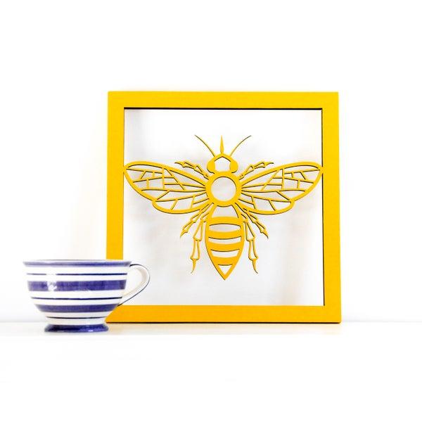 Image of Woodcut Bee Scene