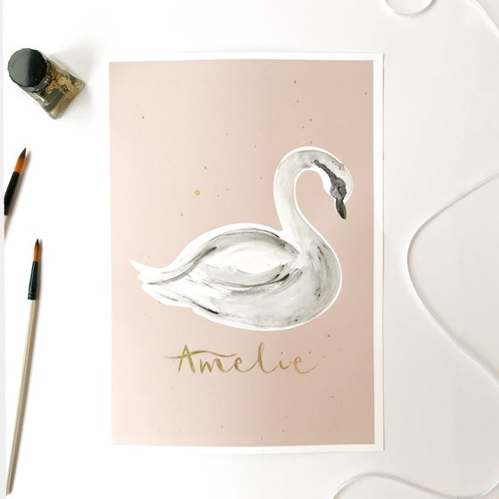 Image of Hand Finished Swan Print