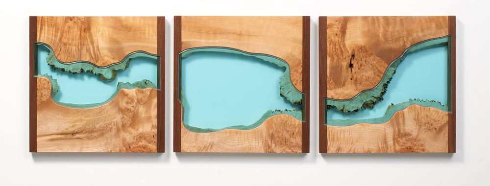 Image of river divided triptych