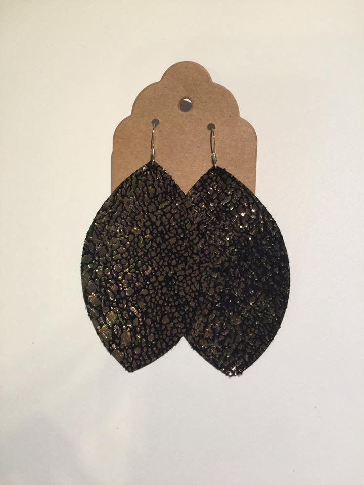 Image of Leather Earrings - Large Leaf Mermaid