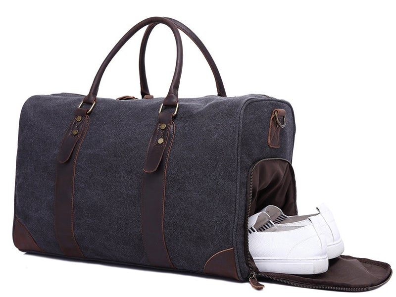 Image of Canvas Leather Trim Travel Duffel Shoulder Handbag Weekender Carry On Luggage with Shoe Pouch YD3070